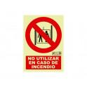 Ascensor no usar en caso de incendio