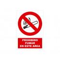 PROHIBIDO FUMAR EN ESTE AREA CON ROTULO