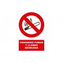 PROHIBIDO FUMAR Y LLAMAS CON ROTULO