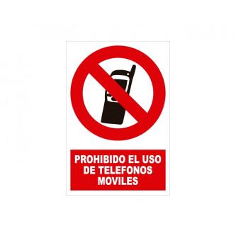 prohibido usar moviles con rotulo