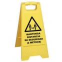 Panel caballete advertencia distancia seguridad