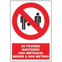 Cartel de prohibición de  Mantener distancia de seguridad
