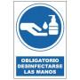 Cartel de Obligatorio desinfectarse las manos