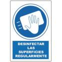 Cartel de Obligatorio desinfectar las superficies
