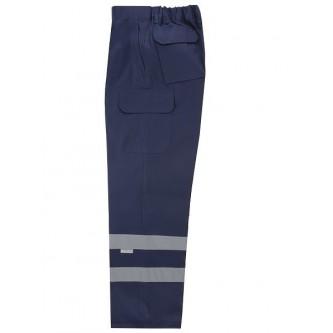 pantalón multibolsillos azul marino con bandas reflectantes velilla