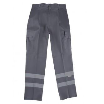 pantalón multibolsillos gris con bandas reflectantes velilla