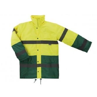 parka alta visibilidad bicolor velilla verde amarilla