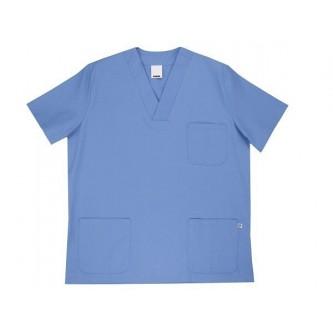 camisola pijama celeste cuello pico manga corta velilla