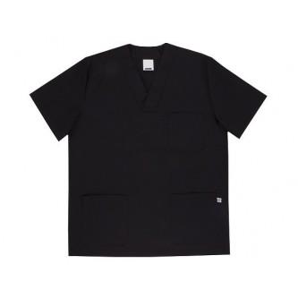 camisola pijama negro cuello pico manga corta velilla