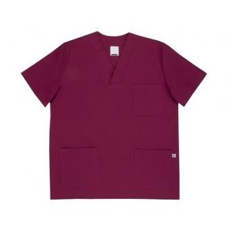 camisola pijama burdeos cuello pico manga corta velilla