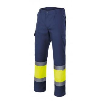 pantalón bicolor alta visibilidad azul marino amarillo velilla