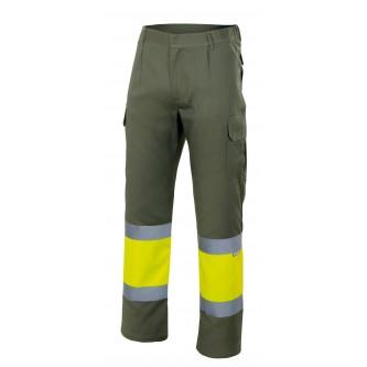 pantalón bicolor alta visibilidad verde caza amarillo velilla